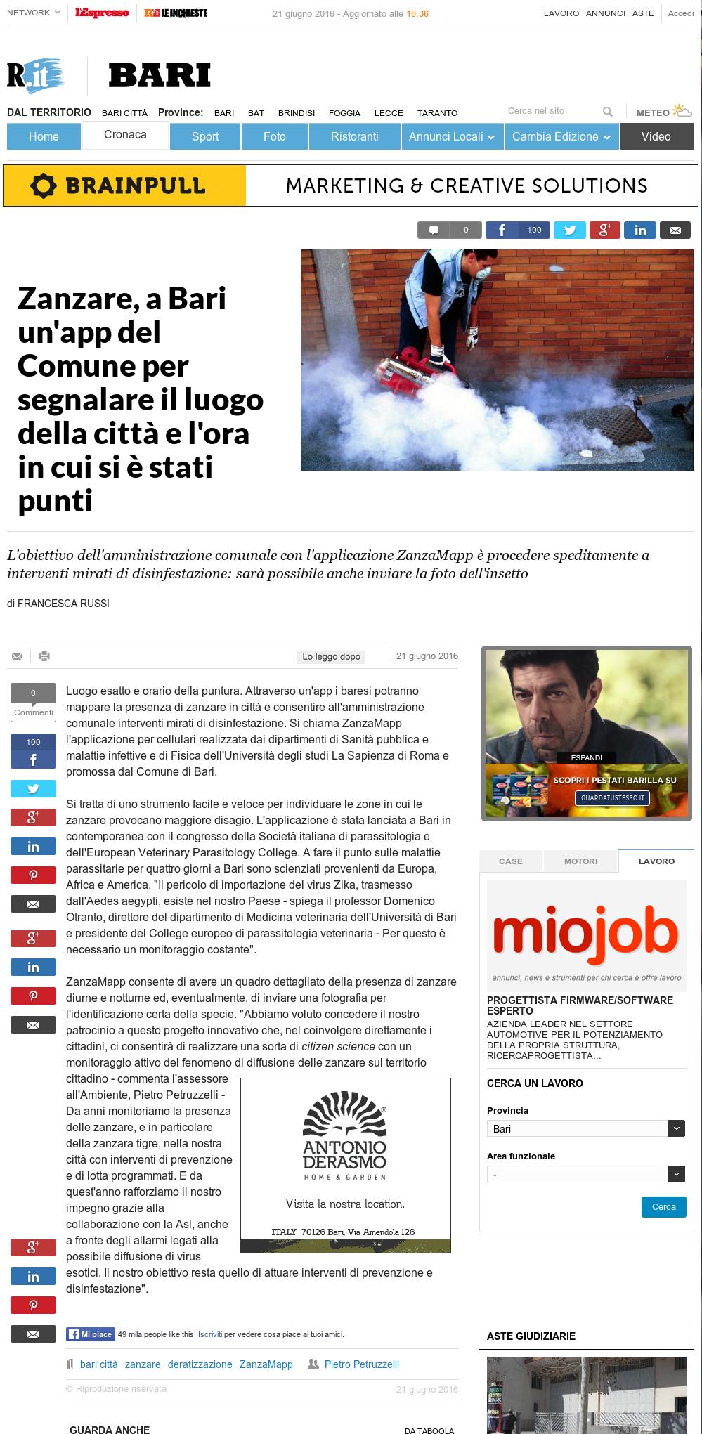Home page di repubblica il comune di bari adotta for Home page repubblica